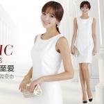 Pre-Order ชุดเดรสทำงาน ชุดแซคทำงาน ผ้าโพลีเอสเตอร์ สีขาว แฟชั่นสไตล์เกาหลี ปี 2014
