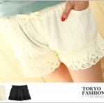กางเกงขาสั้นผ้าคอตระบายลูกไม้ ผ้าคอตตอน Tokyo fashion นำเข้าของแท้ 100% มีสีดำ และสีครีม