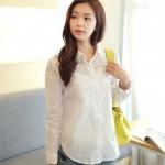 (Pre-Order) เสื้อแขนยาว เสื้อลูกไม้ โพลีเอสเตอร์ สีขาว แฟชั่นเกาหลีปี 2014