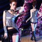 ชุดแฟนซี ชุดคอสเพลย์ cosplay ชุดนักร้อง ชุดแดนเซอร์ singer = ชุดสีเงินเสื้อเกล็ดปลา แขนเดี่ยว กางเกงขาสั้น+ปลอกแขน =