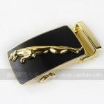 Pre-order หัวเข็มขัดสังกะสีหล่อชุบทอง รูปเสือจากัวร์สีทองพื้นดำ