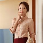 (Pre-Order) เสื้อทำงาน คอปก แขนยาว ประดับลูกไม้ ผ้าชีฟอง สีชมพู แฟชั่นสไตล์เกาหลีปี 2014