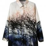 Pre-Order เสื้อเชิ๊ตชีฟอง ผ้าพิมพ์ลายป่าไม้ แขนยาว