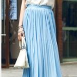 Pre-Order กระโปรงพลีท ผ้าชีฟอง ปี 2014 สไตล์โบฮีเมียน ราคาเบา ๆ น่าเป็นเจ้าของที่สุด สีฟ้า