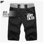 (Pre-Order) กางเกงขาสั้น ลำลอง ผ้ายืดสีดำ แฟชั่นฤดูร้อนสำหรับผู้ชาย