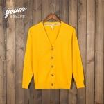 Pre-Order เสื้อสเวตเตอร์ถัก เสื้อคาร์ดิแกน ผ้าฝ้าย คอวี กระดุมหน้า สีเหลืองมะนาว