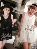 พร้อมส่ง ~ Sister made, White & Black Elegant Cuties Mini Jumpsuit