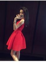 ชุดเดรสแฟชั่นเกาหลี แขนกุด ผ้าซีทรูตาข่าย มีซับใน สีแดง