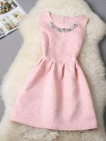 ชุดเดรสแฟชั่นเจ้าหญิง แขนกุด สีชมพูอ่อน Korea Princess dress M
