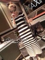 พร้อมส่ง ~ Lovely Stripy Long Softly Knit Maxi Dress