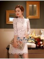 พร้อมส่ง ~ Luxury Lace White embroidery see-through Dress