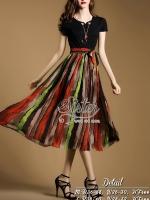 พร้อมส่ง ~ 2Sister Made, Black & Red Vintage Skirt Fushion Dress