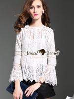 พร้อมส่ง ~ Seoul Secret Say's... Layer Lace Bell Sleeve Ivory Blouse