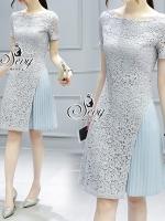 พร้อมส่ง ~ Sevy Sky Blue Lace Chiffon Pleat Mini Dress