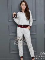 พร้อมส่ง ~ 2Sister made, Sparkling Flora White Premium Lace Set