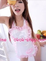 ชุดผ้ากันเปื้อนแม่บ้านสุดเซ็กซี่สีชมพู