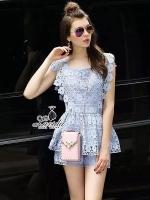 พร้อมส่ง ~ Korea Design By Lavida noble luxury pastel purple lace top short pants set