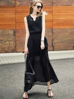 ชุดเดรสยาว แขนกุด ผ้าชิฟฟอนพริ้ว เอวสม๊อกยางยืด มีซับใน สีดำ