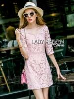 พร้อมส่ง ~ Lady Sonia Sweet Feminine Baby Pink Lace Dress