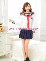 ชุดนักเรียนมัธยมการ์ตูนญี่ปุ่นสาวแขนขาวสีขาวน่ารักใสแบ๊ว