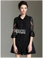 พร้อมส่ง ~ Lady Rose Sweet Feminine Black Lace and Cotton Shirt Dress