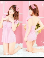 ชุดนอนซีทรูสีชมพูน่ารัก sexy