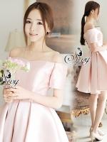 พร้อมส่ง ~ Sevy Princess Diary Off Shoulder Rose Pink Mini Dress
