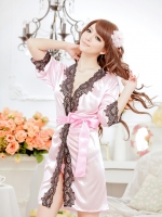 ชุดนอนเสื้อคลุมสีชมพูหวาน sexy วาบหวิว อิโรติค