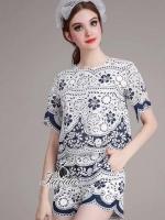 พร้อมส่ง ~ Korea Design By Lavida natalie vintage floral stylish printed short pants feminine set