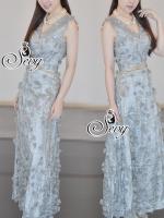 พร้อมส่ง ~ Sevy Gala 3D Leaves Sleeveless V-Neck Maxi Dress (Belt)