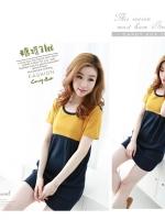 ชุดเดรสแฟชั่นเกาหลีสีทูโทนเหลืองน้ำเงิน ผ้าคอตตอนยืด