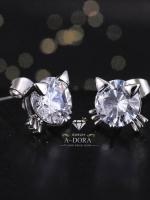 พร้อมส่ง ~ Girl gift Kitty Stud Earrings Small CZ Diamond งานเพชร CZ แท้ค่ะ