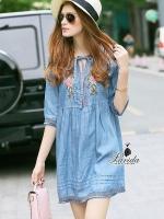 พร้อมส่ง ~ Korea Design By Lavida stylish rose embroidery loose fitting chic denim dress