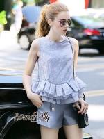 พร้อมส่ง ~ Normal Ally Present Elegance Violet peal bottom set