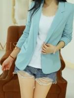 เสื้อสุทสีฟ้าผ้าหนาลื่น ตัดเย็บซับในอย่างดี candy color small suit jacket M