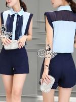 พร้อมส่ง ~ Sevy Two Pieces Of Chiffon Blue Shading Sleeveless Blouse With Shorts Sets
