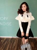 เสื้อแฟชั่นดีไซน์หรู แต่งคอปกปักหมุดและพู่สีดำ Korean high-end custom design.