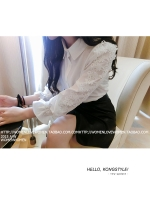 KTFN เสื้อเชิ๊ตคอปกแขนยาว ผ้าชีฟองทึบแสงนิ่มลื่น แต่งแขนลูกไม้ สีขาว