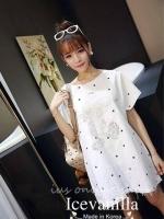 พร้อมส่ง ~ Mickey Mouse embroidered star gauze Dress