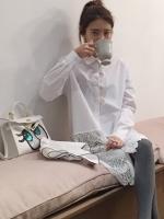เสื้อเชิ้ตเดรส ผ้าฝ้ายสีขาวตัดต่อลูกไม้ที่ชาย ตามแบบ