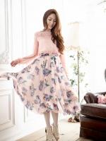 ชุดเดรสยาวผ้าชิฟฟอนพิมพ์ลายดอก สีชมพูโอรส มีสายผูกเอว