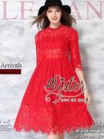 พร้อมส่ง ~ Sister made, Red Flora Vintage Dress Adorn With Mini Diamonds