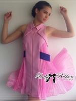 พร้อมส่ง ~ Lady Courtney Fancy Sporty Pleated Sleeveless Collared Dress