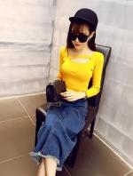 เสื้อแฟชั่นผ้าไหมพรมอ่อนนิ่มยืดหยุ่น คอเซ็กซี่ สีเหลือง