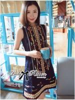 พร้อมส่ง ~ Lady Jenny Tribal Colorful Embroidered Mini Dress