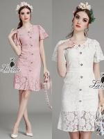 พร้อมส่ง ~ Korea Design By Lavida elegant flower button trumpet sleeves luxury lace dress