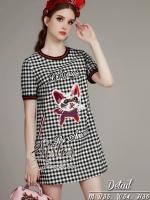 พร้อมส่ง ~ 2Sister Made, Scott Cuties Lovely Cat Knitt Stlye Mini Dress