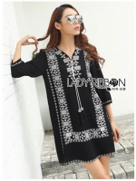 พร้อมส่ง ~ Lady Natalia Tribal Chic Embroidered Mini Dress with Tassels