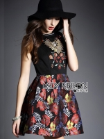 พร้อมส่ง ~ Lady Modern Hippie Floral Embroidered and Printed Dress สำเนา