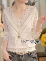 พร้อมส่ง ~ Lady Babara Sweet Everyday Laser-Cut and Embroidered Cotton and Lace Blouse